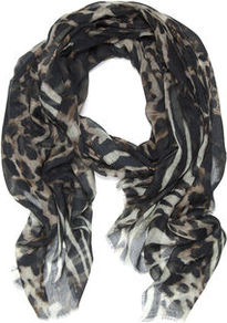 Madison Leopard Mirage Scarf - predominant colour: black; occasions: casual, evening, work, holiday; type of pattern: heavy; style: regular; size: standard; material: fabric; pattern: animal print; trends: statement prints