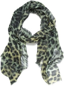 Angelina Leopard Print Citrus Scarf - predominant colour: primrose yellow; occasions: casual, evening, work, occasion, holiday; type of pattern: heavy; style: regular; size: standard; material: fabric; pattern: animal print; trends: statement prints