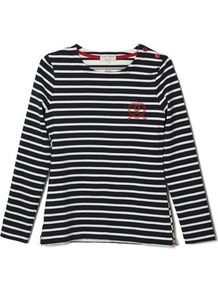 Kitsune Breton - pattern: plain; style: t-shirt; predominant colour: navy; occasions: casual; length: standard; fibres: cotton - 100%; fit: straight cut; neckline: crew; sleeve length: long sleeve; sleeve style: standard; pattern type: fabric; pattern size: standard; texture group: jersey - stretchy/drapey; embellishment: embroidered