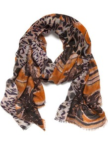Roxie Palm Tree Scarf - occasions: casual, evening, work, holiday; predominant colour: multicoloured; type of pattern: heavy; style: regular; size: standard; material: silk; trends: statement prints; pattern: patterned/print