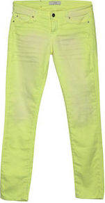 Jarod Skinny Cropped Jean - style: skinny leg; pattern: plain; pocket detail: traditional 5 pocket; waist: mid/regular rise; predominant colour: lime; occasions: casual, holiday; length: ankle length; fibres: cotton - stretch; jeans detail: washed/faded; texture group: denim; trends: fluorescent; pattern type: fabric; pattern size: small &amp; light