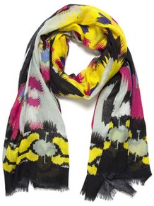 Lana Aztec Scarf - occasions: casual, evening, work, occasion, holiday; predominant colour: multicoloured; type of pattern: heavy; style: regular; size: standard; material: silk; embellishment: fringing; trends: statement prints, fluorescent; pattern: patterned/print