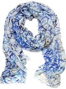 Felicity Animal Smudge Scarf - predominant colour: royal blue; occasions: casual, evening, work, occasion, holiday; type of pattern: standard; style: regular; size: standard; material: fabric; pattern: animal print; trends: statement prints