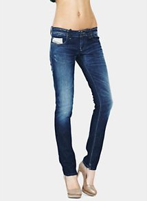 Grupee Super Skinny Jeans Vintage Wash - style: skinny leg; length: standard; pattern: plain; waist: low rise; pocket detail: traditional 5 pocket; predominant colour: navy; occasions: casual; fibres: cotton - stretch; jeans detail: whiskering, shading down centre of thigh; texture group: denim; pattern type: fabric