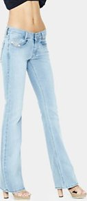 Louvboot Slim Bootcut Jeans Bleach Wash - style: bootcut; pattern: plain; pocket detail: traditional 5 pocket; length: extra long; waist: mid/regular rise; predominant colour: pale blue; occasions: casual; fibres: cotton - stretch; jeans detail: washed/faded; texture group: denim; pattern type: fabric