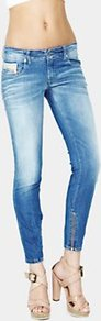 Grupee Cropped Zip Detail Jeans Light Wash - style: skinny leg; pattern: plain; pocket detail: traditional 5 pocket; waist: mid/regular rise; predominant colour: denim; occasions: casual; length: ankle length; fibres: cotton - mix; jeans detail: whiskering, shading down centre of thigh, washed/faded; texture group: denim; pattern type: fabric