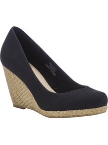 Raffia Wedge Shoes - predominant colour: black; occasions: casual, evening, work, holiday; material: fabric; heel height: high; heel: wedge; toe: round toe; style: courts; finish: plain; pattern: plain
