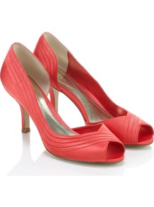 Sakura Peeptoe - predominant colour: coral; occasions: evening, work, occasion; material: satin; heel height: high; heel: stiletto; toe: open toe/peeptoe; style: courts; finish: plain; pattern: plain; embellishment: pleated