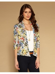 Botanical Jacket - style: single breasted blazer; collar: shawl/waterfall; occasions: casual, occasion; length: standard; fit: straight cut (boxy); fibres: viscose/rayon - stretch; predominant colour: multicoloured; sleeve length: 3/4 length; sleeve style: standard; trends: high impact florals; collar break: low/open; pattern type: fabric; pattern size: standard; pattern: florals; texture group: woven light midweight