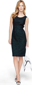 Lace Dress - style: shift; neckline: round neck; fit: tailored/fitted; pattern: plain; sleeve style: sleeveless; predominant colour: black; occasions: evening; length: on the knee; fibres: cotton - mix; sleeve length: sleeveless; texture group: lace; pattern type: fabric; embellishment: lace