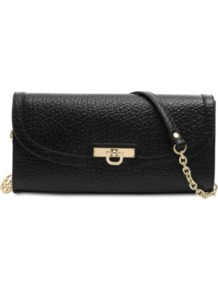 French Grain Clutch - predominant colour: black; occasions: casual, evening, work, occasion; type of pattern: standard; style: clutch; length: hand carry; size: small; material: leather; pattern: plain; finish: plain; embellishment: chain/metal