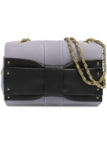 June Mini Bag - predominant colour: lilac; occasions: evening, work, occasion; type of pattern: standard; style: clutch; length: across body/long; size: small; material: leather; pattern: plain; trends: metallics; finish: plain; embellishment: bow
