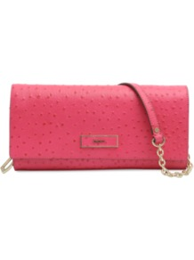 Ostrich Leather Clutch - predominant colour: hot pink; occasions: evening, occasion; type of pattern: standard; style: clutch; length: shoulder (tucks under arm); size: standard; material: leather; pattern: plain; finish: plain