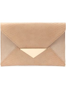 Nude Triangle Lock Clutch - predominant colour: nude; occasions: evening, work, occasion; type of pattern: standard; style: clutch; length: hand carry; size: oversized; material: faux leather; pattern: plain; finish: plain; embellishment: chain/metal