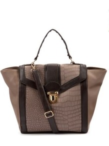 Mink Snake Panel Winged Tote Bag - predominant colour: taupe; occasions: casual, evening, work; type of pattern: light; style: tote; length: handle; size: standard; material: faux leather; pattern: animal print; finish: plain