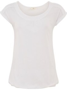 White Yoke Front Bubblehem T Shirt - neckline: round neck; sleeve style: capped; pattern: plain; style: t-shirt; predominant colour: white; occasions: casual, holiday; length: standard; fibres: cotton - mix; fit: body skimming; sleeve length: sleeveless; pattern type: fabric; texture group: jersey - stretchy/drapey