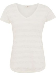 White Mesh Stripe V Neck T Shirt - neckline: v-neck; pattern: horizontal stripes; style: t-shirt; predominant colour: white; occasions: casual; length: standard; fibres: cotton - mix; fit: body skimming; sleeve length: short sleeve; sleeve style: standard; pattern type: fabric; pattern size: small & light; texture group: jersey - stretchy/drapey
