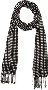 Monochrome Jacquard Geometric Print Scarf - predominant colour: black; occasions: casual, evening, work; type of pattern: heavy; style: skinny; size: standard; material: fabric; embellishment: tassels; trends: modern geometrics; pattern: patterned/print