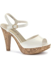 White Patent Cork Platform Sandals - predominant colour: white; occasions: casual, evening, holiday; material: faux leather; heel height: high; ankle detail: ankle strap; heel: platform; toe: open toe/peeptoe; style: standard; finish: patent; pattern: plain