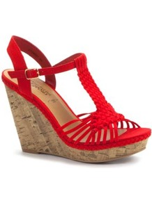Red Woven Strap Cork Wedges - predominant colour: true red; occasions: casual, evening, holiday; material: fabric; ankle detail: ankle strap; heel: wedge; toe: open toe/peeptoe; style: standard; finish: plain; pattern: plain; heel height: very high