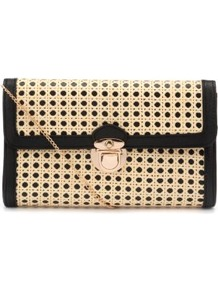 Black And Beige Woven Circle Clutch - predominant colour: stone; occasions: casual, evening, occasion, holiday; type of pattern: large; style: clutch; length: hand carry; size: small; material: macrame/raffia/straw; finish: plain; pattern: patterned/print