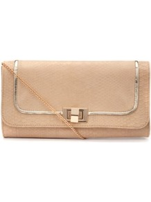 Oatmeal Snake Print Structured Clutch - predominant colour: nude; occasions: evening, occasion, holiday; type of pattern: light; style: clutch; length: hand carry; size: standard; material: faux leather; pattern: animal print; finish: plain; embellishment: chain/metal