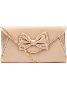 Shell Pink Bow Envelope Clutch - predominant colour: nude; occasions: evening, occasion; type of pattern: standard; style: clutch; length: hand carry; size: small; material: faux leather; pattern: plain; finish: plain; embellishment: bow