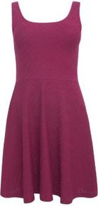 Deep Pink Jacquard Aztec Print Skater Dress - style: shift; sleeve style: standard vest straps/shoulder straps; pattern: plain; back detail: low cut/open back; predominant colour: hot pink; occasions: casual, evening; length: just above the knee; fit: fitted at waist &amp; bust; neckline: scoop; fibres: cotton - mix; hip detail: soft pleats at hip/draping at hip/flared at hip; sleeve length: sleeveless; pattern type: fabric; texture group: jersey - stretchy/drapey