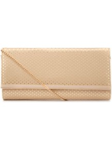Gold Polka Dot Metal Trim Clutch - predominant colour: gold; occasions: evening, occasion, holiday; type of pattern: standard; style: clutch; length: hand carry; size: standard; material: faux leather; pattern: polka dot; trends: metallics; finish: plain; embellishment: chain/metal