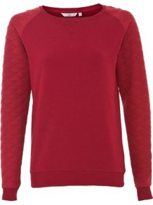 Plum Quilted Sleeve Sweater - neckline: round neck; pattern: plain; style: standard; shoulder detail: contrast pattern/fabric at shoulder; predominant colour: burgundy; occasions: casual; length: standard; fibres: polyester/polyamide - mix; fit: standard fit; sleeve length: long sleeve; sleeve style: standard; texture group: knits/crochet; pattern type: knitted - other; pattern size: standard