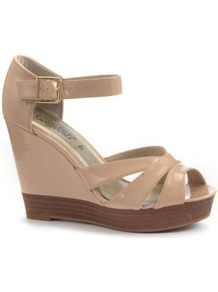 Nude Patent Strap Wood Effect Wedges - predominant colour: nude; occasions: casual, evening, holiday; material: faux leather; ankle detail: ankle strap; heel: wedge; toe: open toe/peeptoe; style: strappy; finish: patent; pattern: plain; heel height: very high