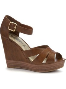 Tan Leather Look Strap Wood Effect Wedges - predominant colour: tan; occasions: casual, evening, holiday; material: faux leather; ankle detail: ankle strap; heel: wedge; toe: open toe/peeptoe; style: strappy; finish: plain; pattern: plain; heel height: very high