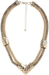 Gold Chunky Chain Arrow Necklace - predominant colour: gold; occasions: casual, evening, occasion, holiday; style: choker/collar; length: short; size: standard; material: chain/metal; finish: metallic; embellishment: chain/metal