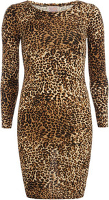 Brown Animal Print Dress - length: mid thigh; neckline: round neck; fit: tight; style: bodycon; predominant colour: tan; secondary colour: black; occasions: casual, evening; fibres: polyester/polyamide - stretch; sleeve length: long sleeve; sleeve style: standard; texture group: jersey - clingy; pattern type: fabric; pattern size: small &amp; busy; pattern: animal print