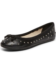 Black Studded Round Toe Pumps - predominant colour: black; occasions: casual, work; material: faux leather; heel height: flat; embellishment: studs; toe: round toe; style: ballerinas / pumps; finish: plain; pattern: plain