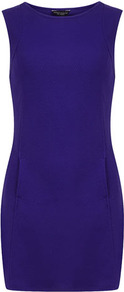 Purple Shift Tunic - style: shift; length: mid thigh; fit: tailored/fitted; pattern: plain; sleeve style: sleeveless; waist detail: fitted waist; predominant colour: purple; occasions: casual, evening; fibres: polyester/polyamide - 100%; neckline: crew; sleeve length: sleeveless; texture group: jersey - clingy
