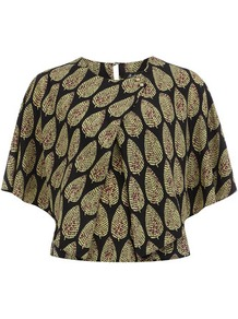 Black Printed Cape Blouse - sleeve style: dolman/batwing; style: blouse; secondary colour: khaki; predominant colour: black; occasions: casual, evening, work; length: standard; fibres: viscose/rayon - 100%; fit: straight cut; neckline: crew; back detail: keyhole/peephole detail at back; sleeve length: short sleeve; texture group: cotton feel fabrics; pattern type: fabric; pattern size: small & busy; pattern: patterned/print