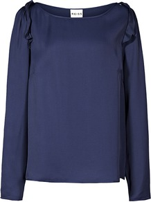 Emilia Frill Shoulder Top - neckline: slash/boat neckline; pattern: plain; shoulder detail: tiers/frills/ruffles; style: blouse; predominant colour: royal blue; occasions: casual, evening, work; length: standard; fit: straight cut; sleeve length: long sleeve; sleeve style: standard; texture group: silky - light; pattern type: fabric; fibres: viscose/rayon - mix