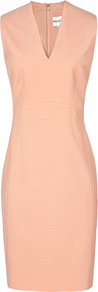 Justine Tor Seamed Formal Dress - style: shift; neckline: v-neck; fit: tailored/fitted; pattern: plain; sleeve style: sleeveless; waist detail: fitted waist; predominant colour: nude; occasions: work, occasion; length: just above the knee; fibres: wool - mix; sleeve length: sleeveless; pattern type: fabric; texture group: other - light to midweight