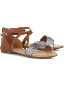 Tan And Glitter Cross Strap Sandals - predominant colour: tan; occasions: casual, evening, holiday; material: faux leather; heel height: flat; embellishment: glitter; ankle detail: ankle strap; heel: standard; toe: open toe/peeptoe; style: strappy; finish: plain; pattern: plain