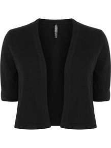 Black Cotton Bolero - pattern: plain; style: bolero/shrug; collar: shawl/waterfall; length: cropped; fit: slim fit; predominant colour: black; occasions: casual, evening, work, occasion; fibres: cotton - mix; sleeve length: short sleeve; sleeve style: standard; texture group: knits/crochet; collar break: low/open; pattern type: knitted - other; pattern size: standard