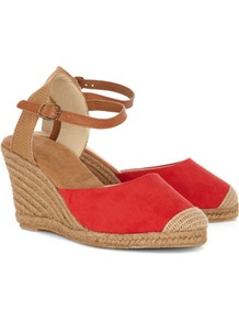 Red Espadrille Wedge Sandals - predominant colour: coral; occasions: casual, holiday; material: fabric; heel height: mid; embellishment: buckles; ankle detail: ankle strap; heel: wedge; style: strappy; finish: plain; pattern: plain