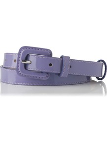 Genevra Patent Leather Skinny Belt Purple Lavender - predominant colour: lilac; occasions: casual, evening, work; type of pattern: standard; style: classic; size: skinny; worn on: waist; material: leather; pattern: plain; finish: patent