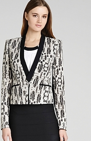 Jacket Guy Printed Tuxedo - style: single breasted tuxedo; length: cropped; collar: standard lapel/rever collar; predominant colour: ivory; occasions: evening, work, occasion; fit: tailored/fitted; fibres: polyester/polyamide - mix; sleeve length: long sleeve; sleeve style: standard; collar break: medium; pattern type: fabric; pattern size: standard; pattern: animal print; texture group: woven light midweight