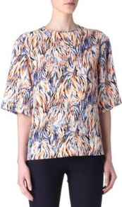 Printed Silk Top - secondary colour: pale blue; predominant colour: nude; occasions: casual, evening, work; length: standard; style: top; fibres: silk - 100%; fit: straight cut; neckline: crew; sleeve length: half sleeve; sleeve style: standard; texture group: silky - light; trends: statement prints; pattern type: fabric; pattern size: small & busy; pattern: patterned/print