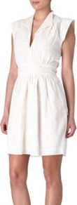 Happy Ever After Dress - style: shift; neckline: low v-neck; fit: fitted at waist; pattern: plain; sleeve style: sleeveless; predominant colour: ivory; occasions: casual, evening, occasion; length: just above the knee; fibres: cotton - 100%; sleeve length: sleeveless; texture group: cotton feel fabrics; pattern type: fabric; embellishment: embroidered