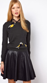 Nw3 Birdie Intarsia Sweater - style: standard; predominant colour: charcoal; occasions: casual, work; length: standard; fibres: cotton - mix; fit: standard fit; neckline: crew; sleeve length: long sleeve; sleeve style: standard; texture group: knits/crochet; pattern type: knitted - other; pattern size: small & light; pattern: patterned/print