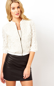 Floral Bomber Jacket - pattern: plain; collar: standard biker; length: cropped; fit: slim fit; style: bomber; predominant colour: ivory; occasions: casual; fibres: cotton - 100%; sleeve length: 3/4 length; sleeve style: standard; texture group: lace; collar break: high/illusion of break when open; pattern type: fabric