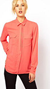 Shirt With Layered Placket - neckline: shirt collar/peter pan/zip with opening; pattern: plain; style: shirt; bust detail: pocket detail at bust; predominant colour: coral; occasions: casual, evening, work; length: standard; fibres: polyester/polyamide - 100%; fit: straight cut; sleeve length: long sleeve; sleeve style: standard; texture group: crepes; pattern type: fabric