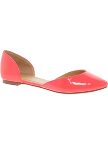 Liberty Pointed Ballet Flats - predominant colour: coral; occasions: casual, evening, work, holiday; material: faux leather; heel height: flat; toe: pointed toe; style: ballerinas / pumps; finish: patent; pattern: plain